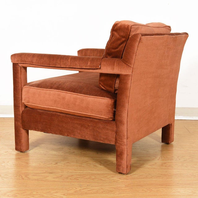 Copper Copper Crushed-Velvet Upholstered Club Chair For Sale - Image 8 of 10