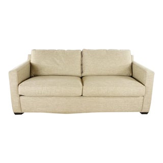 Crate & Barrel Contemporary Two Cushion Upholstered Sofa Bed For Sale