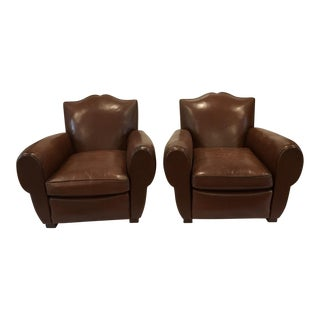 Vintage French Leather Mustache Chairs - a Pair