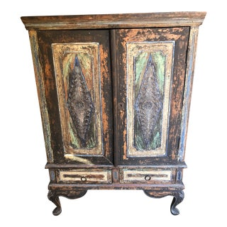 1950s Rustic Distressed Turquoise and Blue Imported Cabinet For Sale