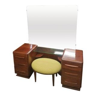 Bissman Danish Modern 6-Drawer Solid Walnut Vanity With Bench For Sale