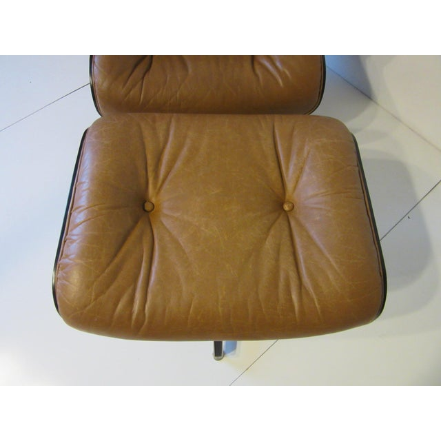Selig Swiveling Leather Lounge Chair and Ottoman For Sale - Image 9 of 10