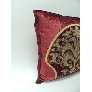 19th Century Crimson Red and Gold Crest Applique Velvet Decorative Pillow Preview