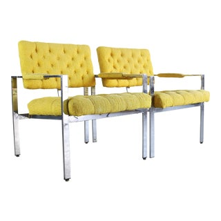 Pair of Tagged Milo Baughman for Thayer Coggin Chrome Lounge Chairs in Tufted Canary For Sale
