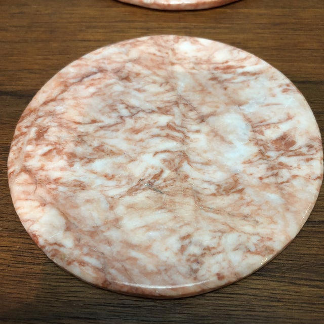 Mid 20th Century Vintage Art Deco Pink Onyx Coaster Set For Sale - Image 5 of 7