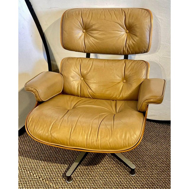 Herman Miller Charles Eames, Herman Miller Midcentury Chair and Ottoman For Sale - Image 4 of 13