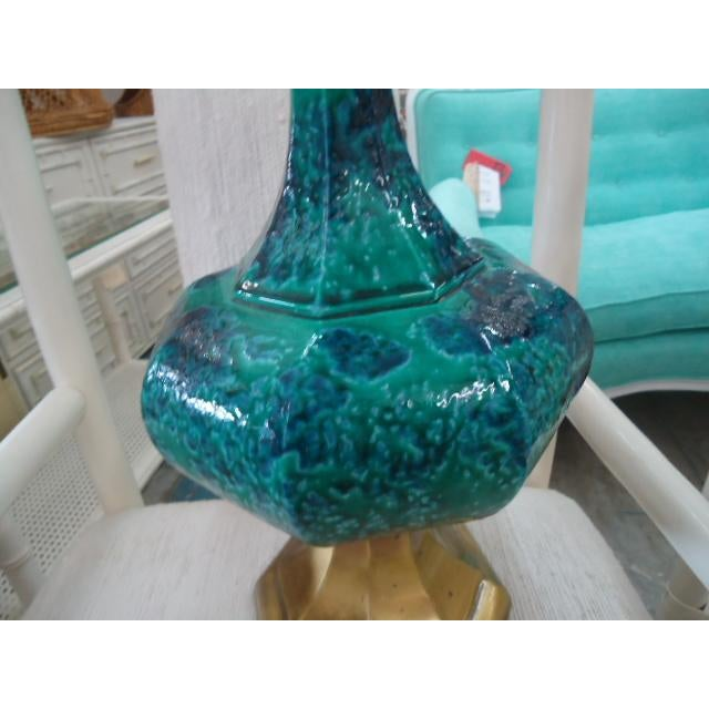 Mid-Century Turquoise Glazed Lamp - Image 2 of 9