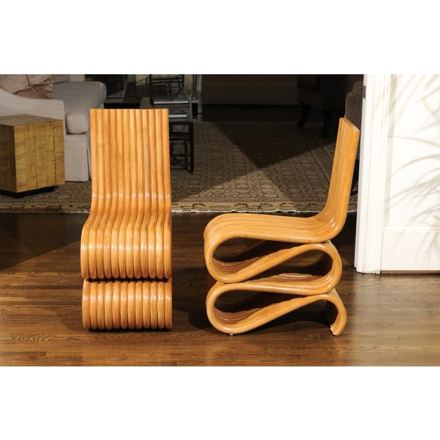 Mid-Century Modern Exquisite Set of 8 Radiant Custom-Made Rattan Dining Chairs, Circa 1995 For Sale - Image 3 of 13