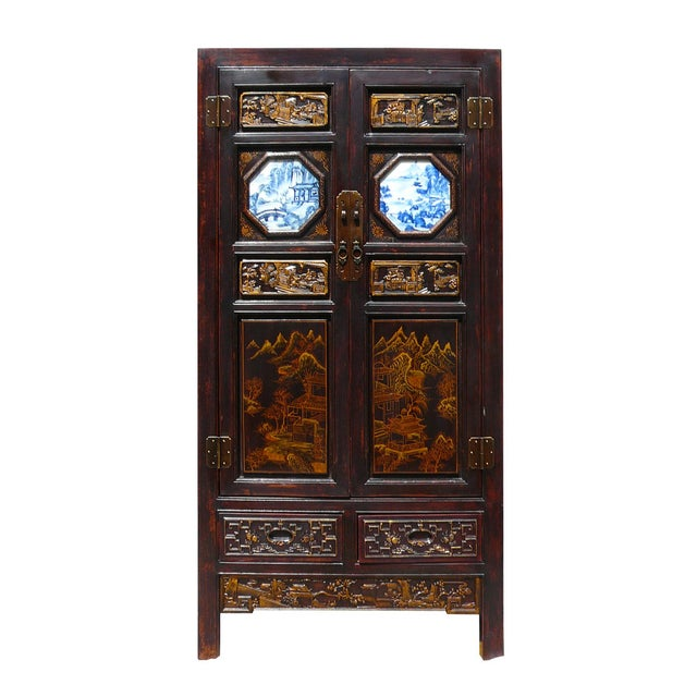 Hand Made Chinese Wood Carved Armoire - Image 1 of 6