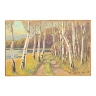 1976 Birch Trees by the Water Landscape Oil Painting by Leif Rafn For Sale