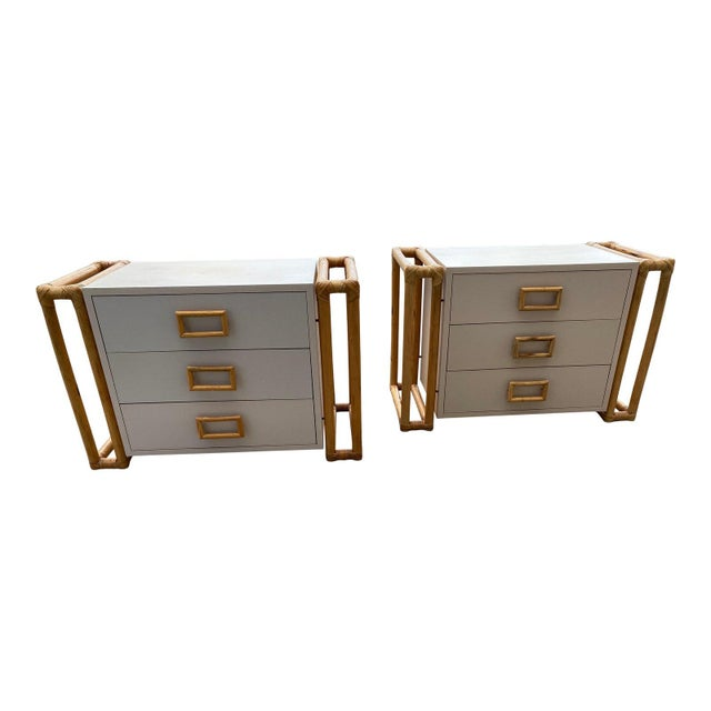 1970s Mid-Century Modern Rattan and Laminate Chests - a Pair For Sale - Image 9 of 9
