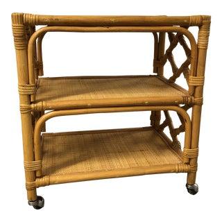 Vintage Rattan & Bamboo Rolling Bar Cart