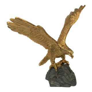 Mid-Century E. Tripp Gilt Bronze and Pewter American Eagle Figurine For Sale