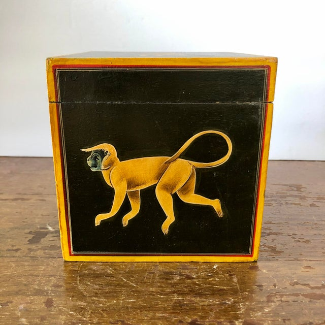 Late 20th Century Hand Painted Green Yellow Wood Monkey Chest For Sale - Image 5 of 9