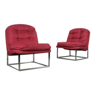 1970s Hollywood Regency Scoop Lounge Chairs - a Pair For Sale
