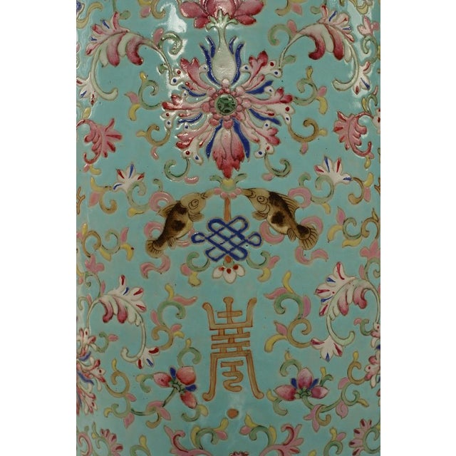 Pair of English Regency Style Turquoise Chinese Porcelain Pedestals For Sale In New York - Image 6 of 11