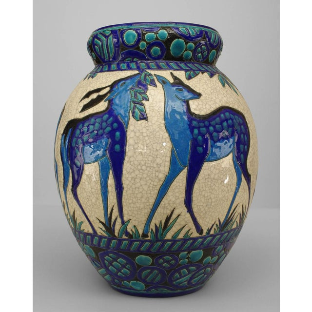 Art Deco (Belgian) Crackled Earthenware Vase For Sale In New York - Image 6 of 6