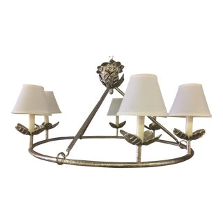 1960s Shabby Chic Vaughn Montferat Hammered Silver Chandelier For Sale