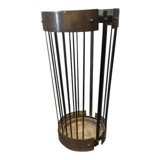 1950s Italian Mid-Century Modern Solid Brass and Black Metal Umbrella Stand For Sale