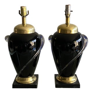 Glass and Brass Lamps - a Pair For Sale