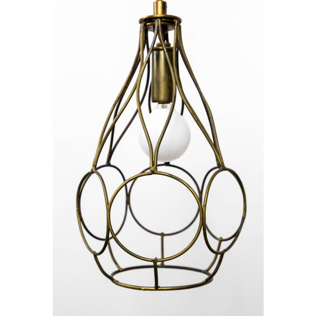 Contemporary Long Arm Hanging Brass Cage Sconce With Circle Motif For Sale - Image 9 of 12