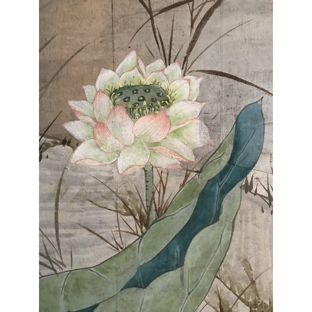 Mid 20th Century Chinoiserie 6 Panel Folding Screen, Silver Leaf and Hand Painted With Spring Imagery of Birds, Lotus, Willow For Sale - Image 5 of 10