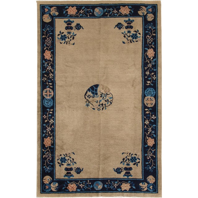 "Apadana Antique Chinese Deco Rug - 5' x 7'10"" For Sale"