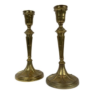 Mottahedeh Vintage Brass Candlestick - a Pair For Sale