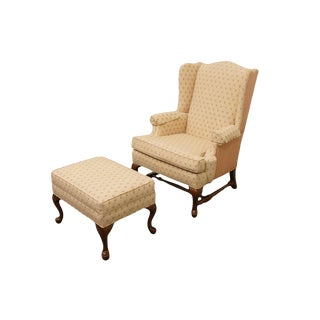 Ethan Allen Wingback Accent Arm Chair & Ottoman For Sale
