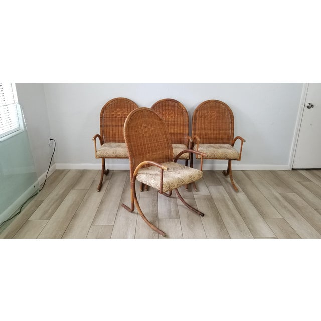 1970s Vintage McGuire Style Woven Wicker Arm Dining Chairs - Set of 4 For Sale - Image 5 of 13