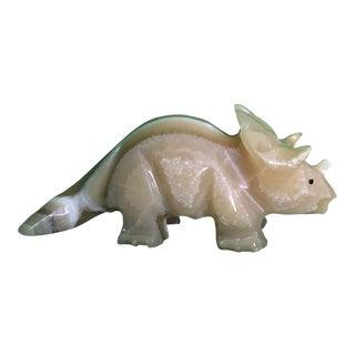 Handcarved Alabaster Triceratops Figurine