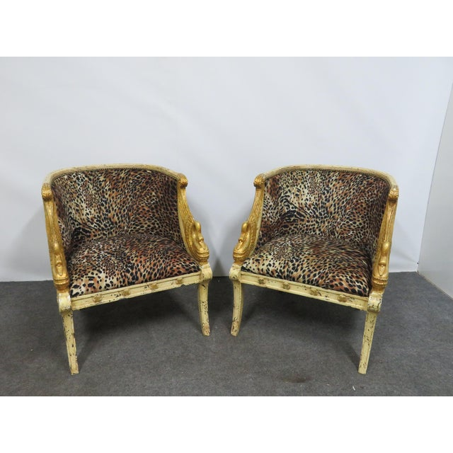 Gold French Style Swan Carved Cream & Gilt Bergeres- a Pair For Sale - Image 7 of 8