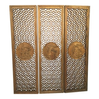 Asian Style Carved Panels - Set of 3 For Sale