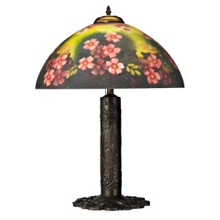 Reverse Painted Glass Shade Tiffany Style Table Lamp For Sale