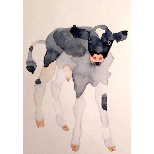 Black & White Calf Watercolor - Image 2 of 2