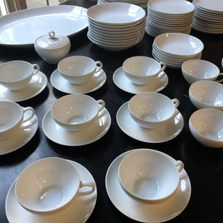1970s Japanese Minimalist Fukagawa White Serving Set - 72 Pieces Preview