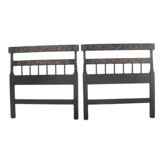 Hitchcock Traditional Black and Bronze Stenciled Headboards - a Pair For Sale