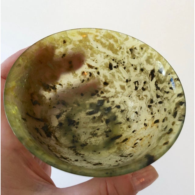 Chinoiserie Antique Nephrite Spinach Jade Rice Bowl For Sale - Image 3 of 13