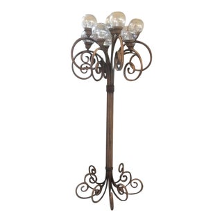 Victorian Tall Metal 11 Light Standing Bentwood Outdoor Lamp For Sale