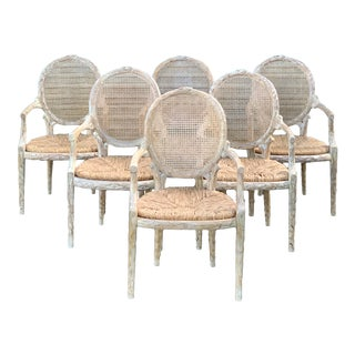 1960's Vintage Louis XVI Faux Bois Branch Form Cane Back Rush Seat Dining Chairs -Set of 6 For Sale