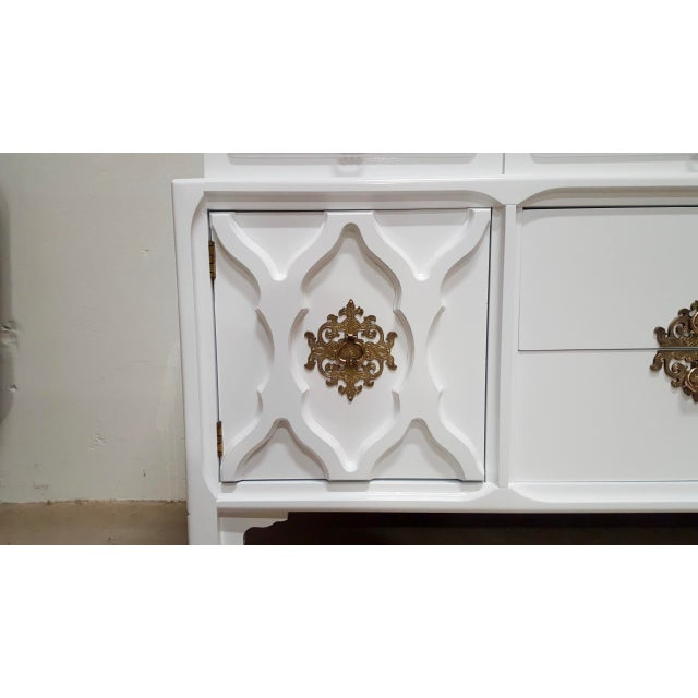 Boho Chic White Lacquered Moroccan-Style Credenza For Sale - Image 3 of 8