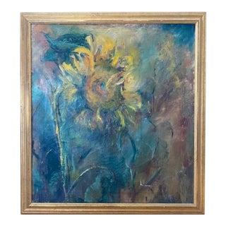 Mid Century Still Life Oil Painting - Singular Sunflower, Signed For Sale