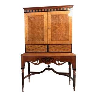 1940's Biedermeier Ribbon Mahogany Cabinet For Sale