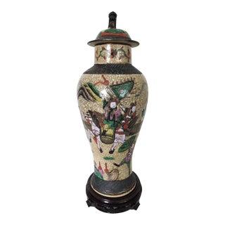 Chinese Crackle Glaze Warrior Vase