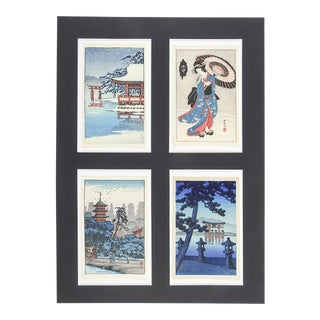 Miniature Japanese Wood Block Prints - Set of 4 For Sale