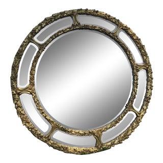 1970s Italian Rococo Round Gilt Foliate Mirror by La Barge For Sale