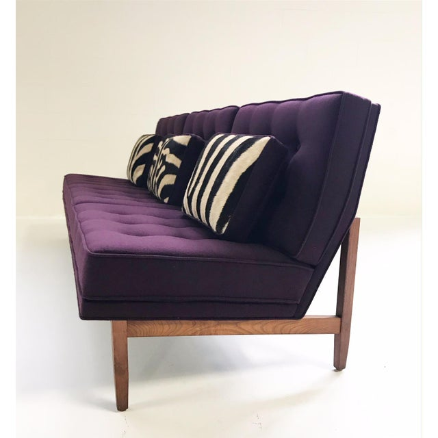 Forsyth Vintage Florence Knoll Sofa Restored in Loro Piana Cashmere With Custom Zebra Hide Pillows For Sale - Image 10 of 13