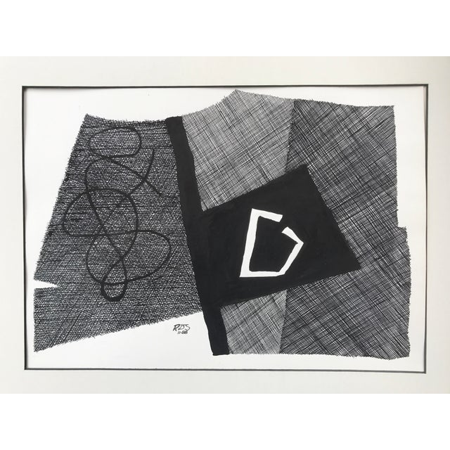 Vintage Roger Stokes Pen & Ink Abstract Drawing - Image 3 of 6