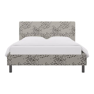 Queen Tailored Platform Bed in Dotted Blot For Sale