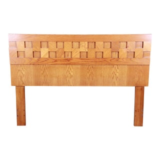 Lane Mid-Century Modern Brutalist Oak Queen Size Headboard, Circa 1970s For Sale